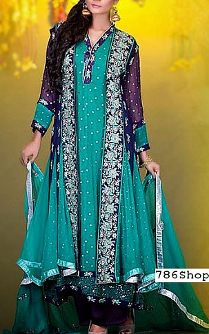 Turquoise/Blue Crinkle Chiffon Suit | Pakistani Party and Designer Dresses