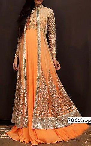 Orange  Crinkle Chiffon Suit | Pakistani Party and Designer Dresses in USA
