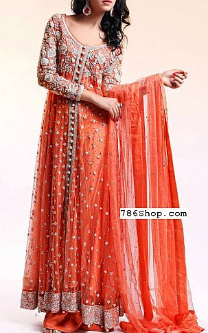 34af7cc0ec1b Orange Net Suit | Buy Pakistani Indian Dresses | 786Shop.com