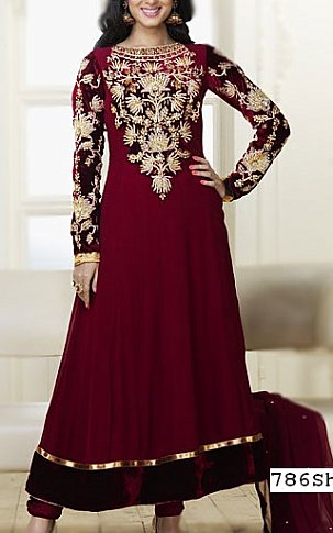 Maroon Crinkle Chiffon Suit   Pakistani Party and Designer Dresses in USA