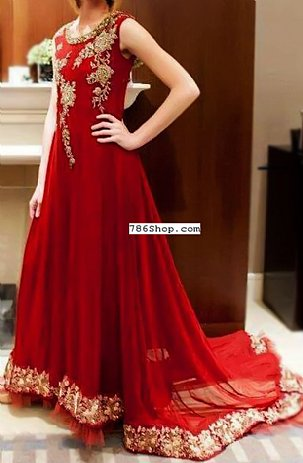 Red Crinkle Chiffon Suit | Pakistani Party and Designer Dresses in USA