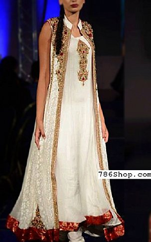 White Crinkle Chiffon Suit   Pakistani Party and Designer Dresses in USA