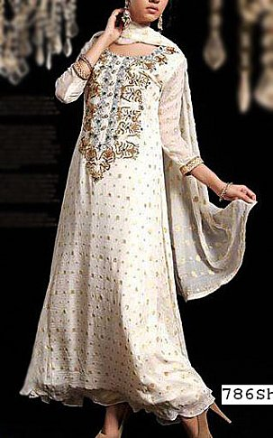 Off-white Jamawar Chiffon Suit | Pakistani Party and Designer Dresses in USA