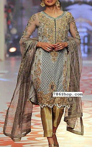 Grey Crinkle Chiffon Suit Buy Pakistani Indian Dresses
