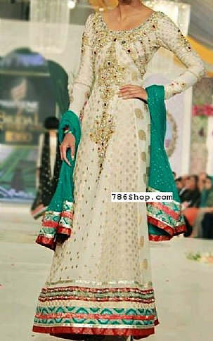 Off-white Chiffon Jamawar Suit | Pakistani Party and Designer Dresses in USA