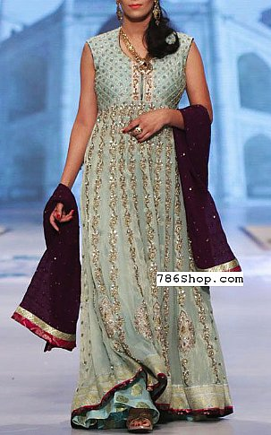 Light Sea Green Crinkle Chiffon Suit | Pakistani Party and Designer Dresses in USA