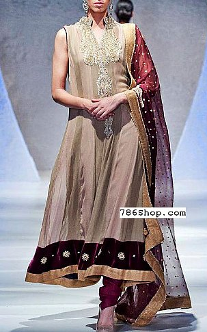 Fawn/Magenta Crinkle Chiffon Suit | Pakistani Party and Designer Dresses in USA