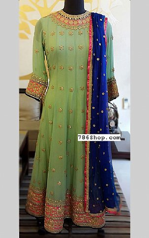 Green/Blue Crinkle Chiffon Suit | Pakistani Party and Designer Dresses
