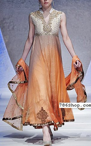 Off-white/Orange Crinkle Chiffon Suit | Pakistani Party and Designer Dresses in USA
