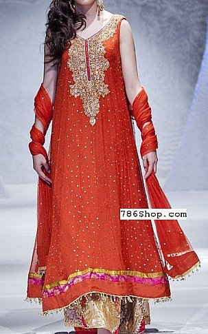 Crimson Crinkle Chiffon Suit | Pakistani Party and Designer Dresses in USA