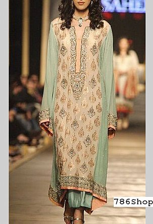 Ivory/Sea Green Crinkle Chiffon Suit | Pakistani Party and Designer Dresses in USA