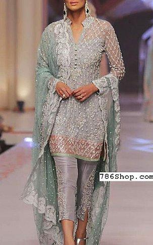Grey Crinkle Chiffon Suit | Pakistani Party and Designer Dresses
