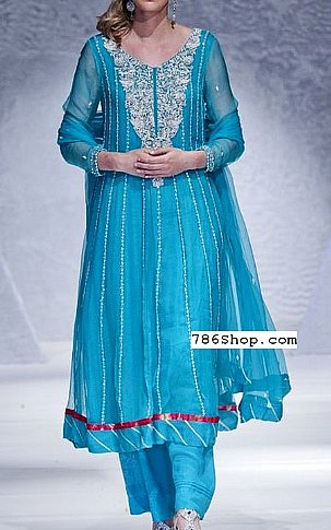 Turquoise Crinkle Chiffon Suit | Pakistani Party and Designer Dresses in USA
