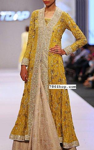 Mustard Crinkle Chiffon Suit | Pakistani Wedding Dresses in USA