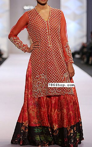 Red Crinkle Chiffon Suit | Pakistani Wedding Dresses in USA