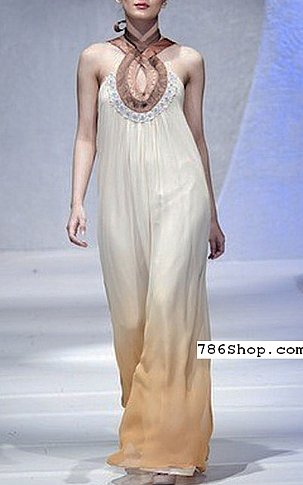 Off-white/Beige Crinkle Chiffon Suit | Pakistani Party and Designer Dresses in USA