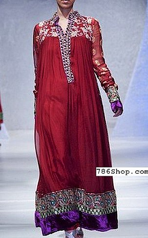 Magenta Crinkle Chiffon Suit | Pakistani Party and Designer Dresses