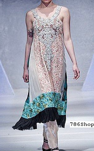 Off-white Crinkle Chiffon Suit | Pakistani Party and Designer Dresses