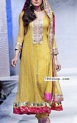Yellow Crinkle Chiffon Suit | Pakistani Party and Designer Dresses in USA