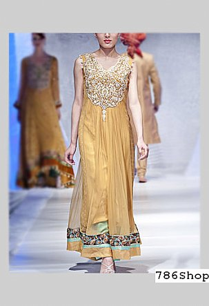 Mustard Net Suit | Pakistani Party and Designer Dresses in USA