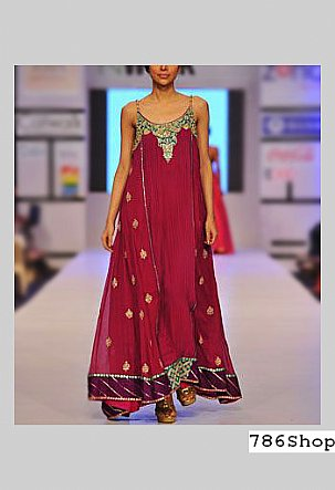 Magenta Crinkle Chiffon Suit | Pakistani Party and Designer Dresses in USA