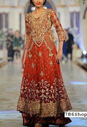 Rust Crinkle Chiffon Suit | Pakistani Wedding Dresses in USA
