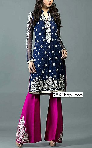 Blue/Pink Crinkle Chiffon Suit | Pakistani Party and Designer Dresses in USA