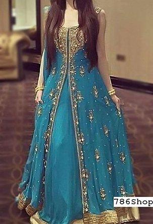 Blue Crinkle Chiffon Suit Buy Pakistani Indian Dresses