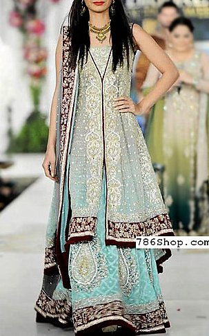 Silver/Turquoise Chiffon Suit | Pakistani Wedding Dresses in USA