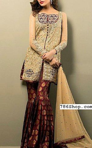 Beige/Maroon Chiffon Suit | Pakistani Wedding Dresses in USA