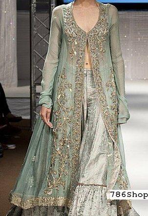 Sea Green Chiffon Suit   Pakistani Wedding Dresses