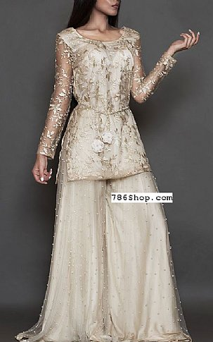 Off-white Net Suit | Pakistani Party and Designer Dresses in USA