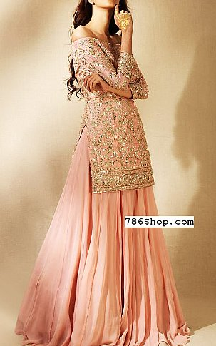 Pink Crinkle Chiffon Suit | Pakistani Wedding Dresses in USA