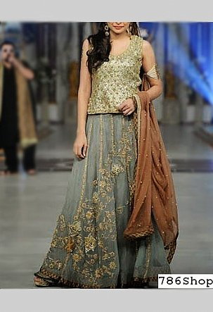 Green/Grey Chiffon Suit | Pakistani Wedding Dresses in USA