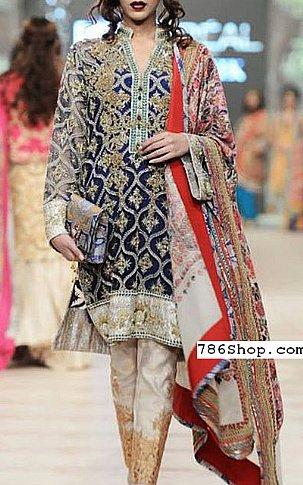 Navy Blue Chiffon Suit | Pakistani Party and Designer Dresses