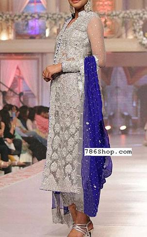 Grey/Blue Chiffon Suit   Pakistani Party and Designer Dresses