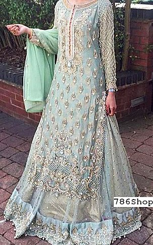 Light Turquoise Chiffon Suit | Pakistani Wedding Dresses in USA