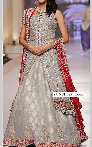 Grey/Red Chiffon Suit | Pakistani Wedding Dresses in USA