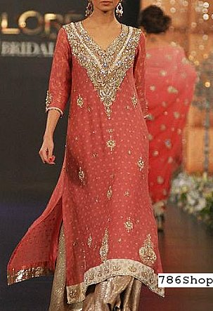 Coral/Golden Chiffon Suit | Pakistani Party and Designer Dresses in USA