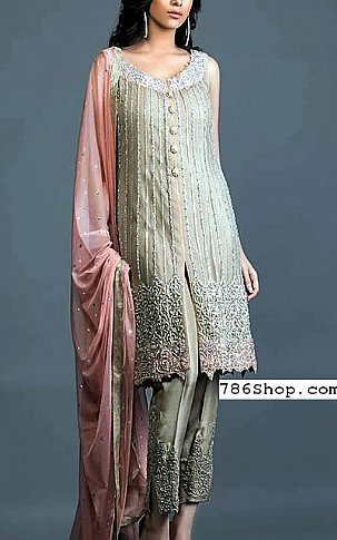 Grey Chiffon Suit | Pakistani Party and Designer Dresses in USA