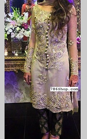 Grey/Green Chiffon Suit | Pakistani Party and Designer Dresses in USA