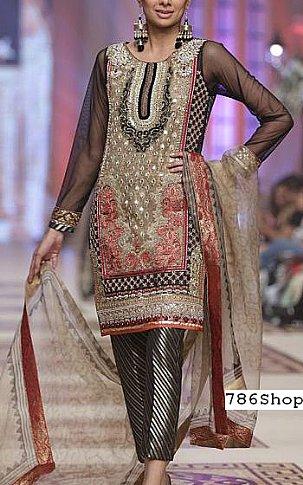0f1f3d9981 Black/Beige Crinkle Chiffon Suit | Buy Pakistani Indian Dresses ...