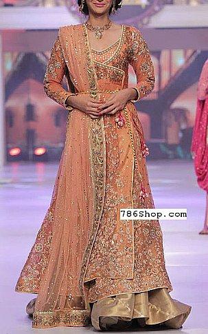 Peach Crinkle Chiffon Suit | Pakistani Wedding Dresses in USA