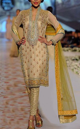 Golden Chiffon Suit | Pakistani Party and Designer Dresses