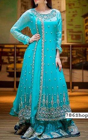 Turquoise Chiffon Suit | Pakistani Wedding Dresses in USA