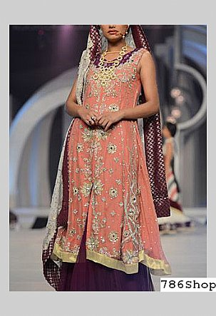 Peach/Indigo Chiffon Suit | Pakistani Wedding Dresses in USA