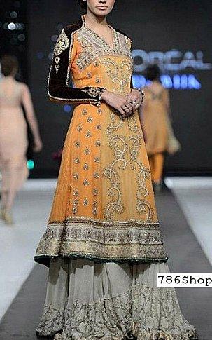 Orange Crinkle Chiffon Suit | Pakistani Wedding Dresses