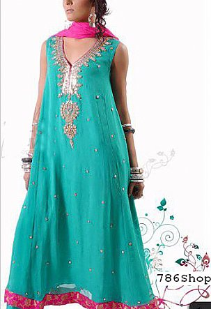 Sea Green Chiffon Suit | Pakistani Party and Designer Dresses in USA