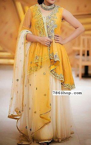 Yellow/Off-white Chiffon Suit   Pakistani Wedding Dresses