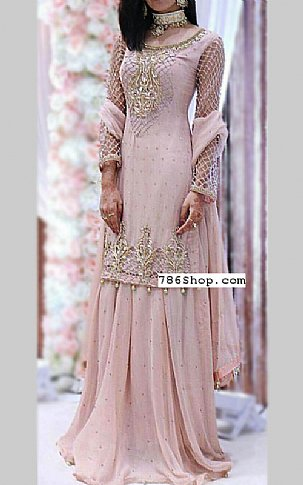 Light Pink Chiffon Suit | Pakistani Wedding Dresses in USA